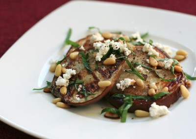 Griddled aubergine & Goat's cheese salad